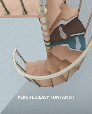 Abbiamo reinventato le scale a chiocciola. Con queste parole Fontanot presenta 2:Easy Il rivoluzionario gradino che semplifica la tua vita. 2:Easy trasforma le normali scale a chiocciola in scale comode e sicure come una rampa.